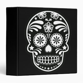 Black and White Sugar Skull Flower 3 Ring Binder