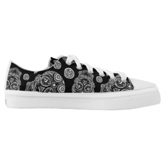 Black and White Sugar Skull Low Tops