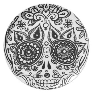 Black and White Sugar Skull Plate