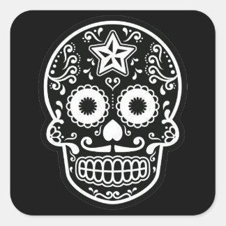 Black and White Sugar Skull Star Square Sticker