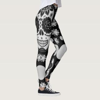 black and white sugar skull thigh print leggings
