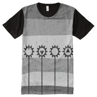 Black and white sun flower pattern