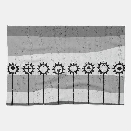 Black and white sun flower pattern kitchen towel