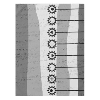 Black and white sun flower pattern tablecloth