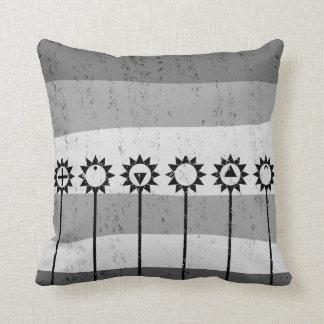 Black and white sun flower pattern throw pillow