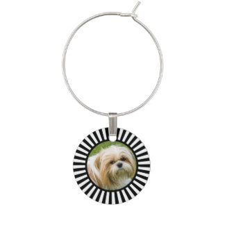 Black and white sunburst photo wine charms