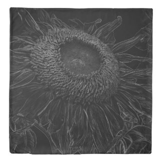 Black And White Sunflower Sketch Design Duvet Cover
