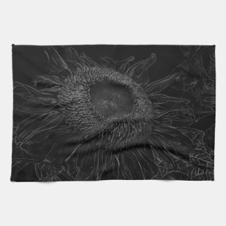 Black And White Sunflower Sketch Design Kitchen Towel