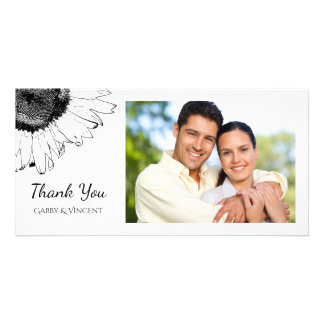 Black and White Sunflower Thank You Personalized Photo Card