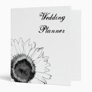 Black and White Sunflower Wedding Binders
