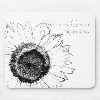 Black and White Sunflower Wedding Mouse Pad