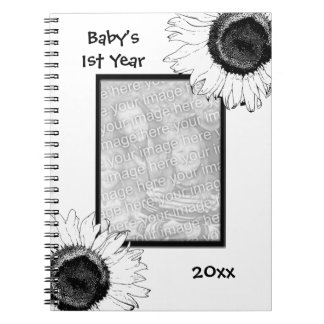 Black and White Sunflowers Baby's First Year Notebook