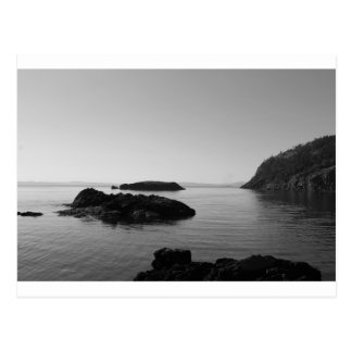 Black and White Sunset Ocean Scene Postcard