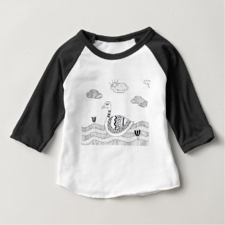 Black and white swan doodle baby T-Shirt