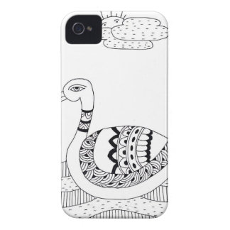 Black and white swan doodle Case-Mate iPhone 4 cases