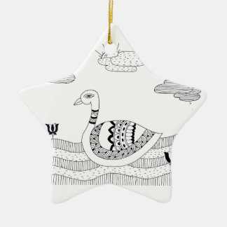 Black and white swan doodle ceramic ornament