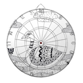 Black and white swan doodle dartboard