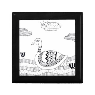 Black and white swan doodle gift box