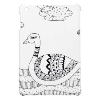 Black and white swan doodle iPad mini case