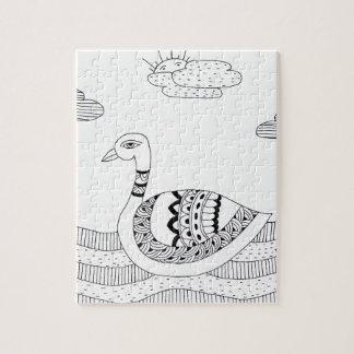 Black and white swan doodle jigsaw puzzle