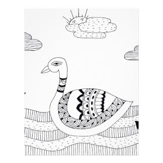 Black and white swan doodle letterhead