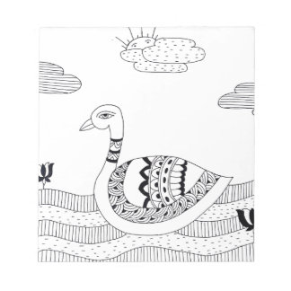 Black and white swan doodle notepad