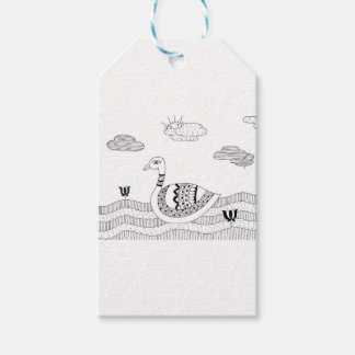 Black and white swan doodle pack of gift tags