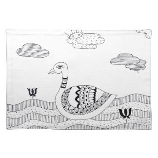 Black and white swan doodle placemat