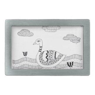Black and white swan doodle rectangular belt buckle