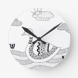 Black and white swan doodle round clock