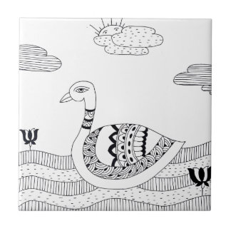 Black and white swan doodle tile