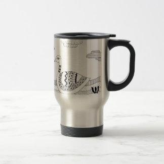 Black and white swan doodle travel mug