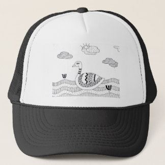 Black and white swan doodle trucker hat