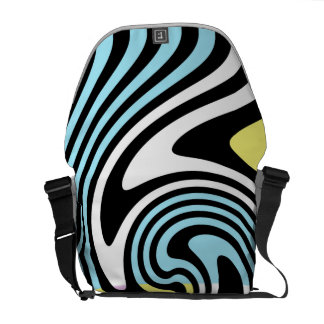 black and white swirl courier bag