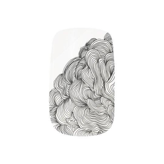Black and White Swirl  Finger Nails Nail Art