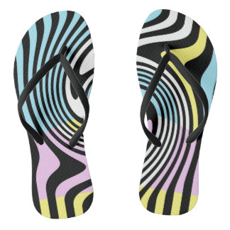 black and white swirl flip flops