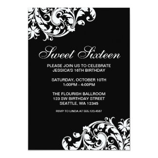 "Black and White Swirl Flourish Sweet 16 Birthday 5"" X 7"" Invitation Card"