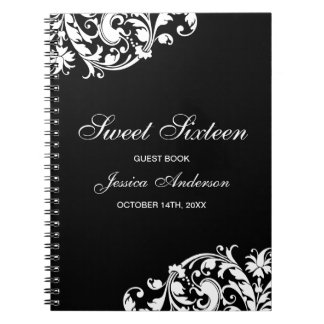 Black and White Swirl Flourish Sweet 16 Guest Book