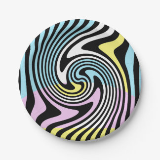black and white swirl paper plate