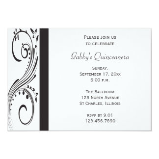 Black and White Swirl Quinceañera Invitation