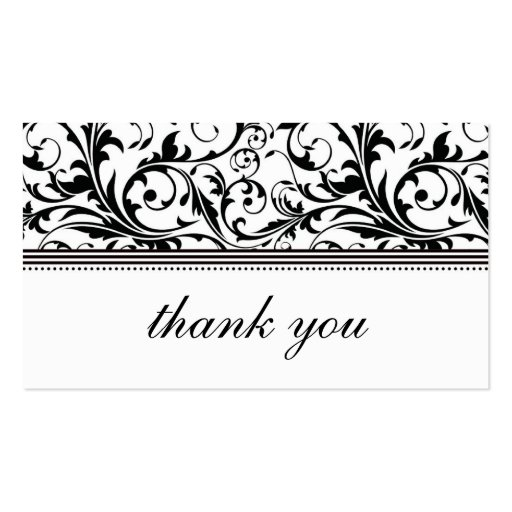 Black and White Swirl Thank You Card Business Cards
