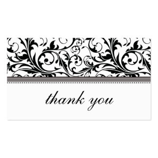 Black and White Swirl Thank You Card Pack Of Standard Business Cards