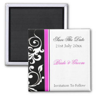 Black and White Swirl With Hot Pink Save The Date Magnet