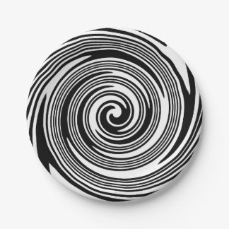 Black and white swirling pattern paper plate