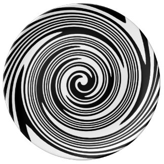 Black and white swirling pattern plate