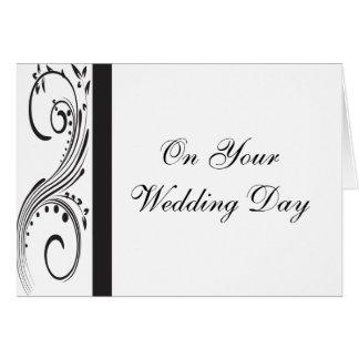 Black and White Swirls Blended Family Wedding Card