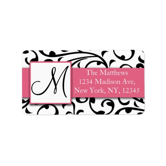Black and White Swirls Damask Avery Address Labels