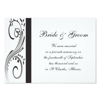 Black and White Swirls Marriage Announcement