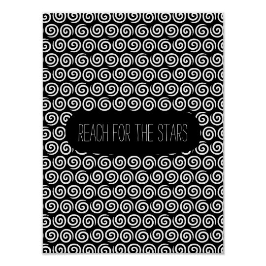 Black and White Swirls Poster