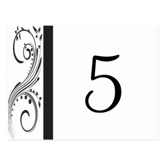 Black and White Swirls Table Numbers Postcard
